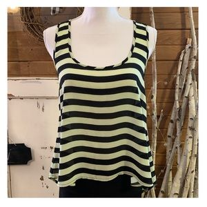 Forever 21 neon yellow/black striped tank top
